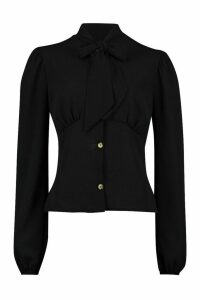 Womens Woven Fitted Pussy Bow Blouse - black - 12, Black