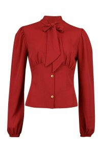 Womens Woven Fitted Pussy Bow Blouse - red - 6, Red