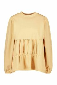 Womens Tiered Sweat Top - beige - 16, Beige