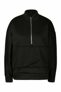 Womens Oversized roll/polo neck Sweat With Zip - black - M, Black