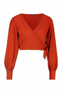 Womens Tie Front Puff Sleeve Cropped Blouse - orange - 8, Orange