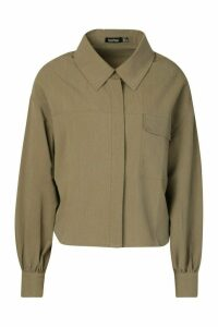 Womens Woven Oversized Utility Shirt - green - 14, Green