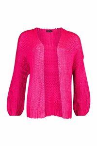 Womens Loose Knit Premium Boyfriend Cardigan - Pink - ONE SIZE, Pink