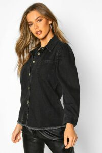 Womens Puff Sleeve Shirt - black - 14, Black