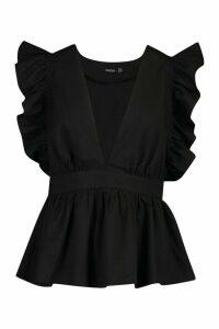 Womens Woven Ruffle Peplum Top - black - 10, Black