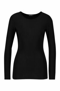 Womens Soft Touch Long Sleeve Gym Top - black - 16, Black