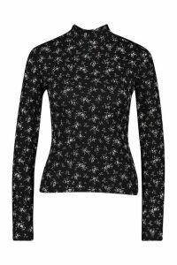 Womens roll/polo neck Top In Ditsy Floral - black - 12, Black