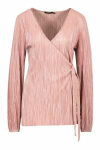 Womens Plisse Wrap Tie Front Top - Pink - 8, Pink