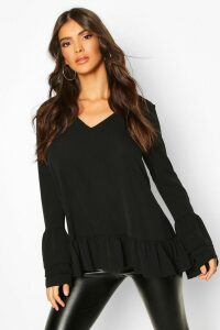 Womens Woven Ruffle Sleeve V Front Tunic Top - black - 12, Black