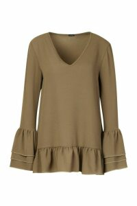 Womens Woven Ruffle Sleeve V Front Tunic Top - green - 10, Green