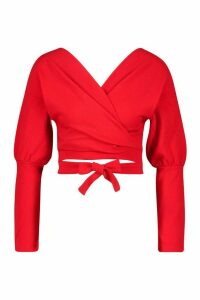 Womens Off The Shoulder Oversized Sleeve Crop Top - red - 12, Red