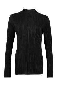 Womens Plisse High Neck Split Side Tunic Top - black, Black