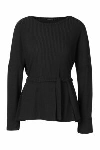 Womens Easy Fit Peplum Top With Tie Front - black - M, Black
