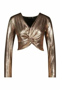 Womens Metallic Deep V Front Top With Knot - brown - 14, Brown