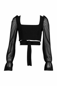Womens Square Neck Tie Front Top With Mesh Sleeves - black - 14, Black