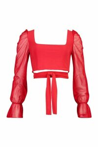 Womens Square Neck Tie Front Top With Mesh Sleeves - red - 10, Red