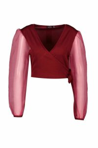 Womens Mock Wrap Tie Top With Organza Sleeves - red - 14, Red
