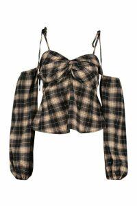 Womens Checked Tie Shoulder Puff Sleeve Peplum Top - Black - 12, Black