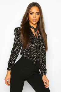 Womens Pussy Bow V Neck Polka Dot Blouse Body - black - 8, Black