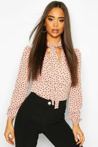 Womens Pussy Bow V Neck Polka Dot Blouse Body - Pink - 12, Pink