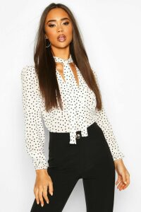 Womens Pussy Bow V Neck Polka Dot Blouse Body - White - 14, White