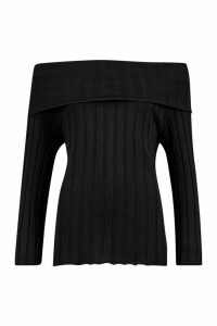 Womens Bardot Rib Knit Jumper - Black - L, Black