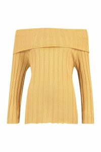 Womens Bardot Rib Knit Jumper - beige - M, Beige
