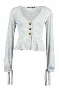 Womens Button Front Peplum Top In Brushed Jersey - Grey - 12, Grey