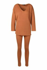 Womens V Neck Knitted Lounge Set - beige - M, Beige