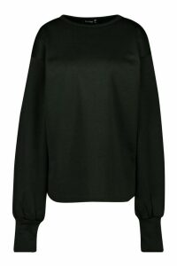 Womens Oversized Slogan Puff Sleeve Sweatshirt - Black - 12, Black