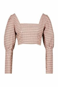 Womens Woven Check Puff Sleeve Top - Pink - 14, Pink