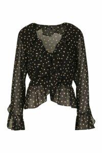 Womens Spot Print Ruffle Blouse - black - 14, Black