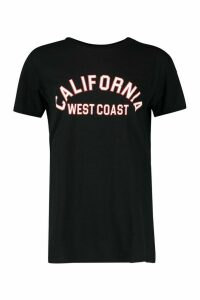 Womens Fit California Slogan Oversized Gym T-shirt - black - 8, Black