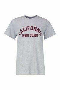 Womens Fit California Slogan Oversized Gym T-shirt - grey - 12, Grey
