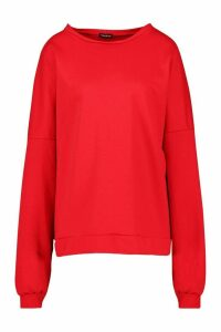Womens Premium Oversized Back Print jumper - red - L, Red