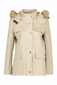 Womens Faux Fur Trim Hooded Pocket Detail Parka - beige - 14, Beige