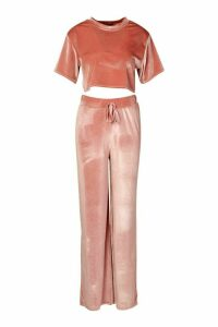 Womens Velour Crop T-Shirt & Wide Leg Co-Ord Set - Pink - 14, Pink