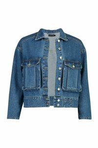 Womens Utility Pocket Oversized Denim Jacket - Blue - 12, Blue