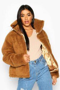 Womens Teddy Faux Fur Puffer Jacket - Beige - L, Beige