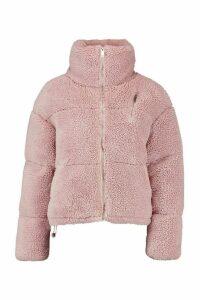 Womens Teddy Faux Fur Puffer Jacket - Purple - S, Purple