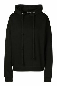 Womens Fleece Back Knot Detail Drawstring Oversized Hoodie - black - 16, Black