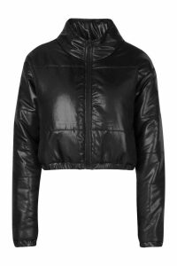 Womens Cropped Panelled Puffer Bomber Jacket - black - 16, Black