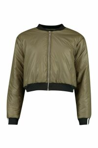 Womens Zip Through Cropped Bomber Jacket - Green - 16, Green