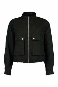 Womens Faux Suede Pocket Detail Bomber Jacket - black - 14, Black