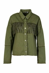 Womens Studded Tassell Front Denim Shirt Jacket - green - 8, Green