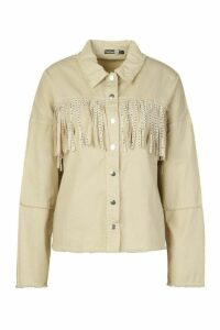 Womens Studded Tassell Front Denim Shirt Jacket - Beige - 16, Beige