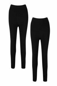 Womens 2 Pack Basic High Waist Leggings - black - 6, Black