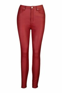 Coated High Rise Skinny Jean - red - 14, Red