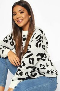 Womens Leopard Knitted Jumper - White - M, White