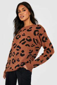 Womens Leopard Knitted Jumper - Beige - L, Beige